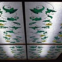 Витражный плафон на потолке с лозой