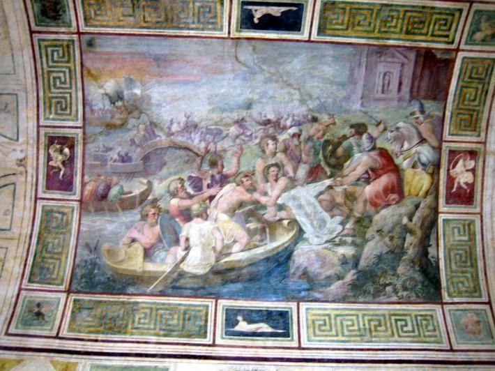 Фрагмент росписи потолка в галерее Спада в палаццо Спада