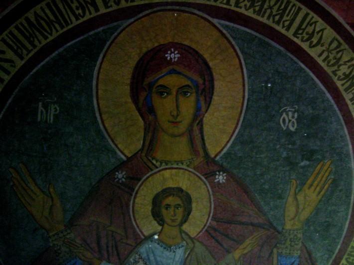 Фреска Матерь Божья в пределе монастыря Святого Николая в Брашове