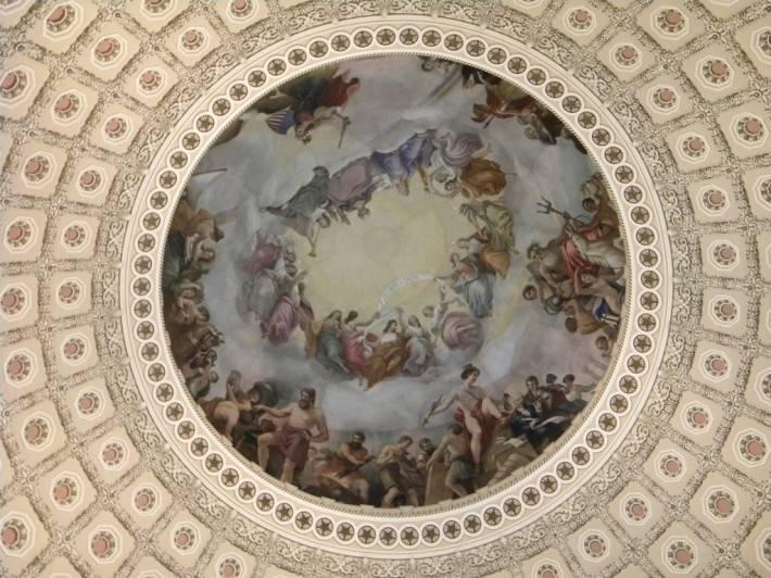 Фреска Апофеоз Вашингтона в Национальном зале штатов Капитолия, Вашингтон (фото 4)