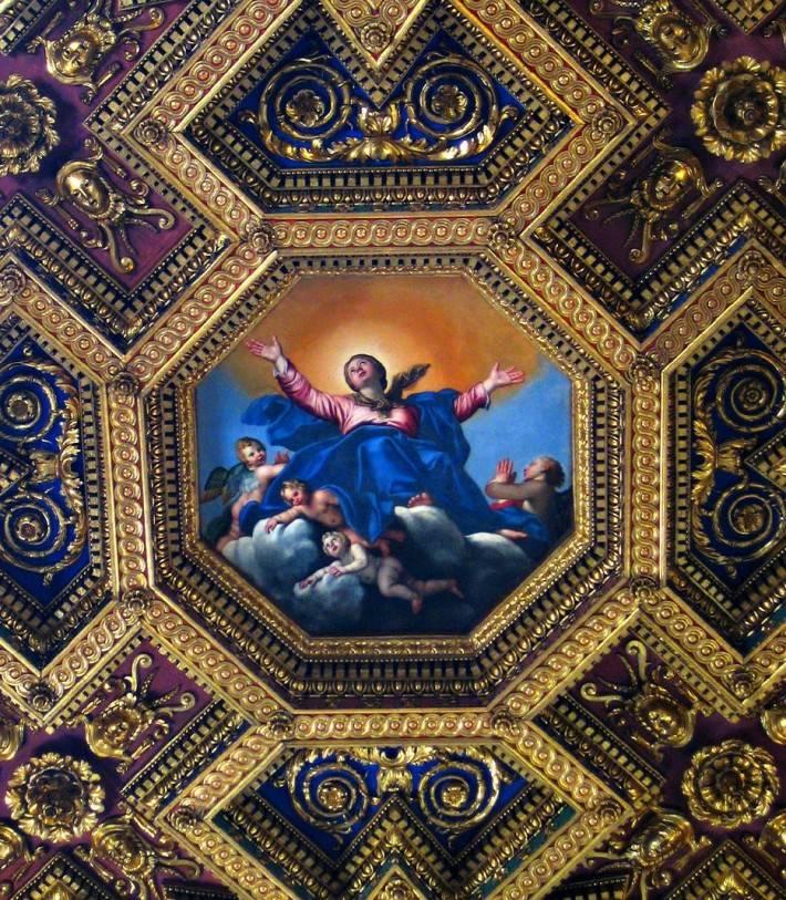 Фрагмент росписи потолка в титулярной базилике Санта-Мария-ин-Трастевере