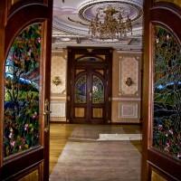Декор витражом межкомнатной двустворчатой двери — фото 26