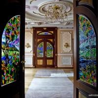 Декор витражом межкомнатной двустворчатой двери — фото 27