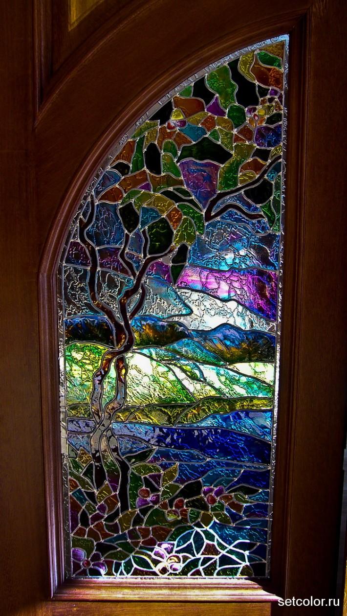 Декор витражом межкомнатной двустворчатой двери — фото 17