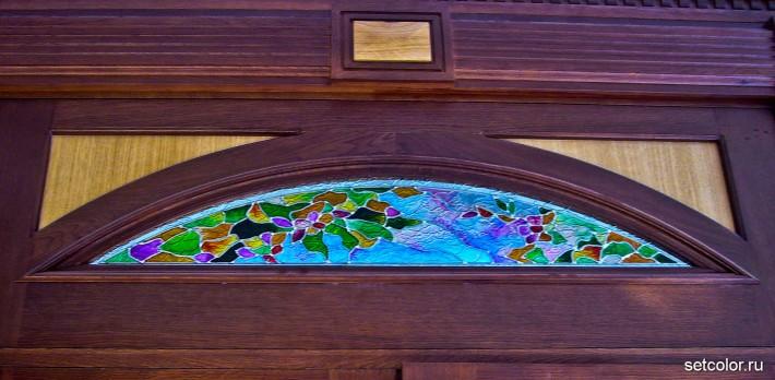 Декор витражом межкомнатной двустворчатой двери — фото 13