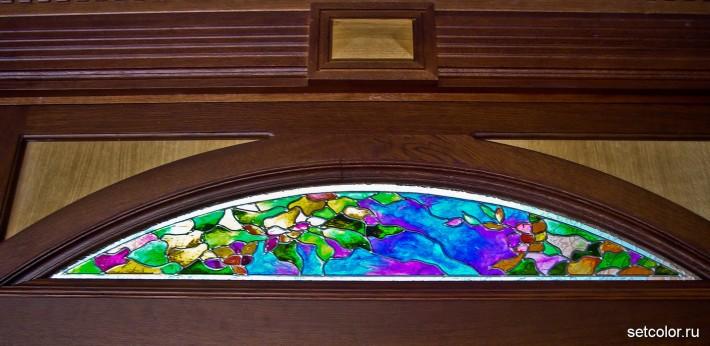 Декор витражом межкомнатной двустворчатой двери — фото 11