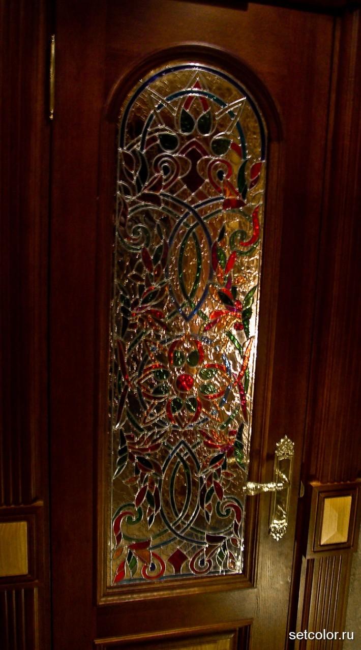 Декор витражом межкомнатной двери — фото 7