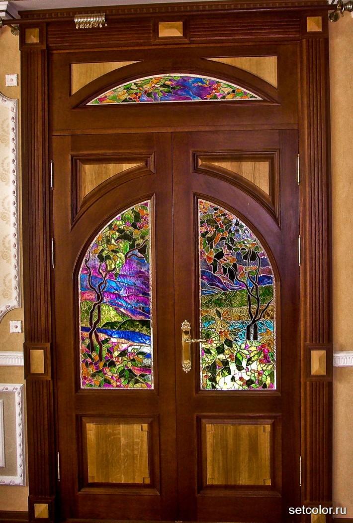 Декор витражом межкомнатной двустворчатой двери — фото 9