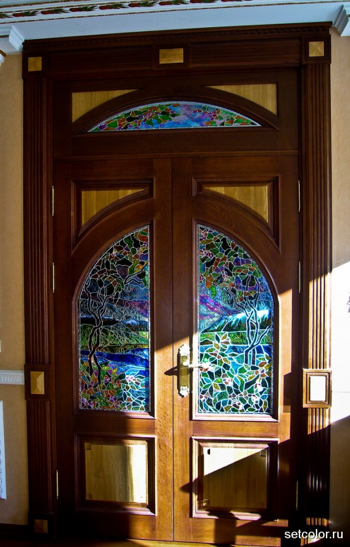 Декор витражом межкомнатной двустворчатой двери — фото 22