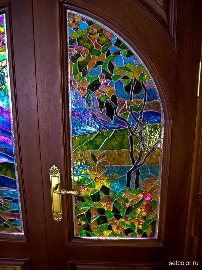 Декор витражом межкомнатной двустворчатой двери — фото 21