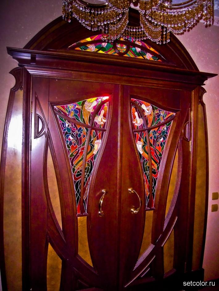 Декорирование витражом двери со стеклом — фото 5