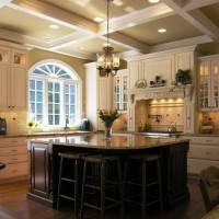 Потолок на кухне в кессонами