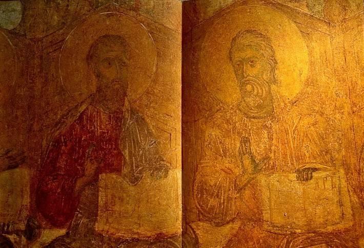 Апостолы Иаков и Андрей — Западный свод центрального нефа. Южный склон.