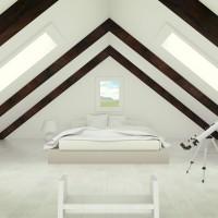 Спальня в мансарде в стиле лофт