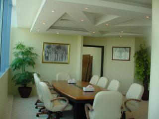 Потолок из гипсокартона в конференц зале офиса