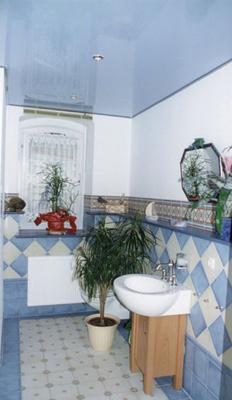 Натяжной потолок в ванной — фото 4