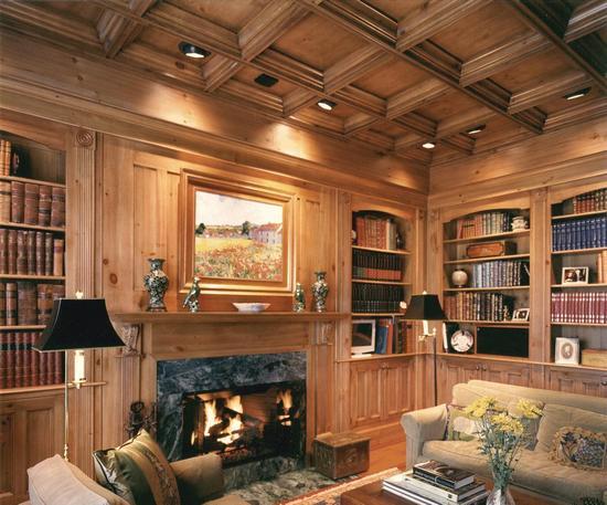 Деревянный потолок в гостиной — фото 6