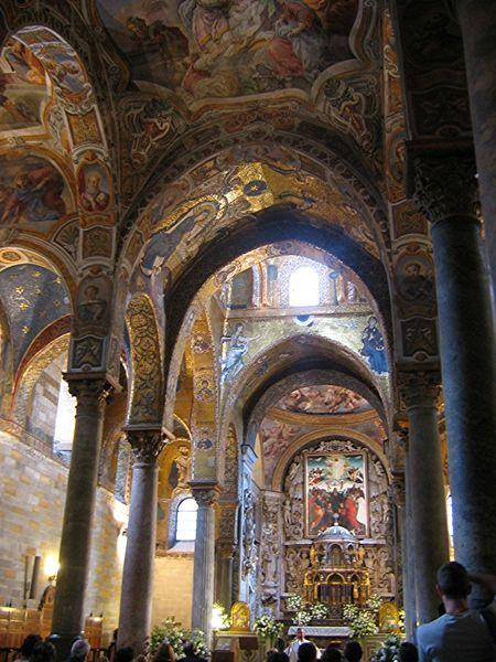 Потолок с мозаикой в церкви Марторана в Палермо