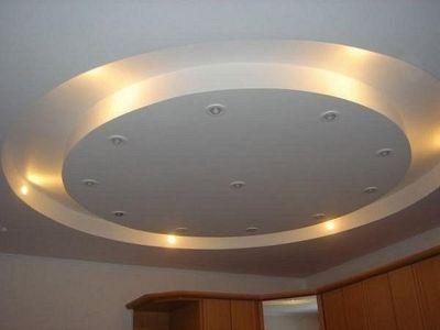 Потолок из гипсокартона, круглая ниша с подсветской