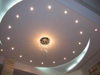 Круглая ниша из гипрока с точечными светильниками