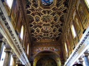Роспись потолка в титулярной базилике Санта-Мария-ин-Трастевере