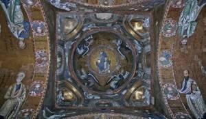 Тромпы с мозаикой в основании купола Мартораны (общий вид)