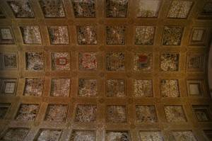 Средневековая роспись с кессоннами и гербами
