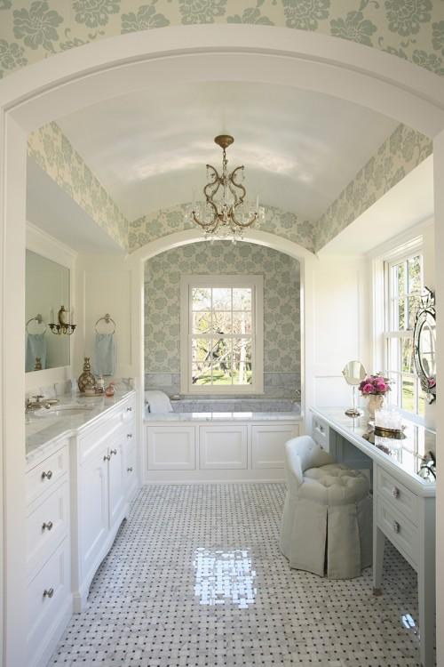 Потолок в ванной комнате в стиле прованс