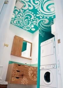 Трафаретная роспись в ванной