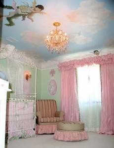 Роспись потолка с ангелами и облаками