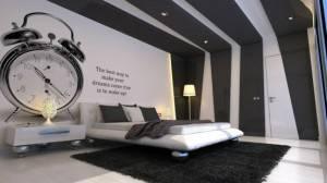 Дизайн в спальне с акцентом на цвет потолка
