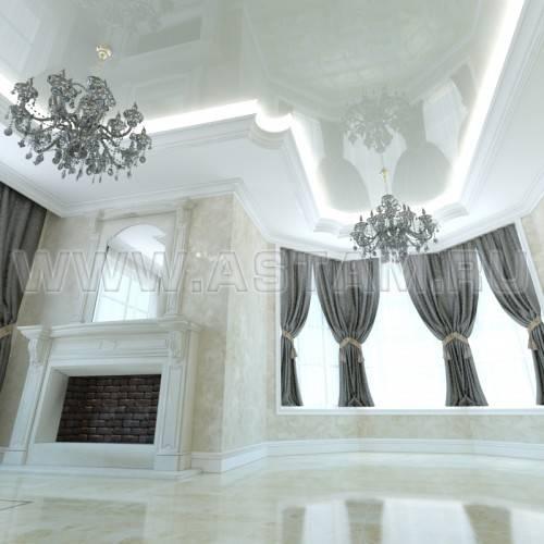 Классический стиль в сочетании с натяжным потолком