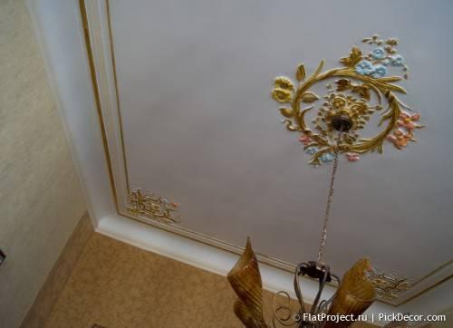 Роспись лепнины на потолке - до/после 15