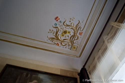 Роспись лепнины на потолке - до/после 16
