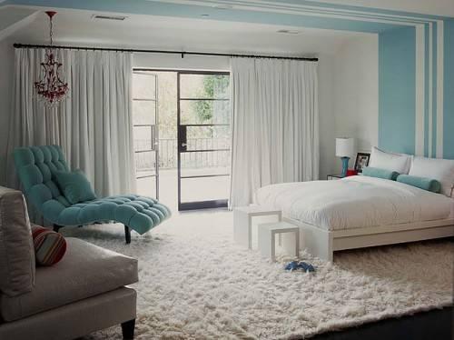 Зонирование в спальне с помощью цвета