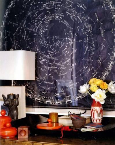 Принт с картой созвездий на стене