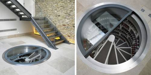 Подвал со спиральной лестницей-хранилищем и стеклянным люком