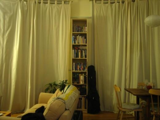 Шторы декорируют стеллажи в гостиной