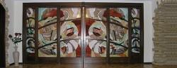 Раздвижная дверь с витражом