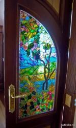 Декор витражом межкомнатной двустворчатой двери — фото 18