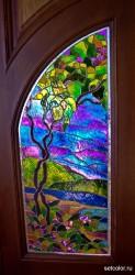 Декор витражом межкомнатной двустворчатой двери — фото 14