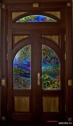 Декор витражом межкомнатной двустворчатой двери — фото 10