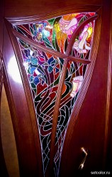 Декорирование витражом двери со стеклом — фото 9
