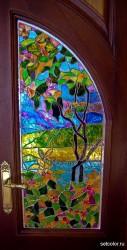 Декор витражом межкомнатной двустворчатой двери — фото 5