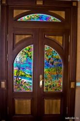 Декор витражом межкомнатной двустворчатой двери — фото 6