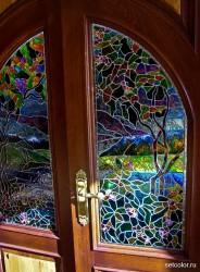 Декор витражом межкомнатной двустворчатой двери — фото 4