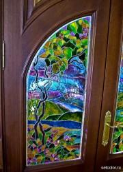 Декор витражом межкомнатной двустворчатой двери — фото 20