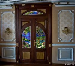 Декор витражом межкомнатной двустворчатой двери — фото 28