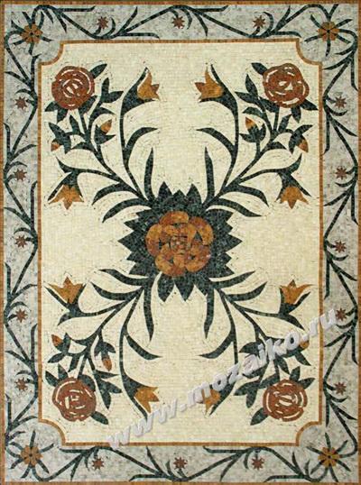 Мозаичное панно из полированного мрамора