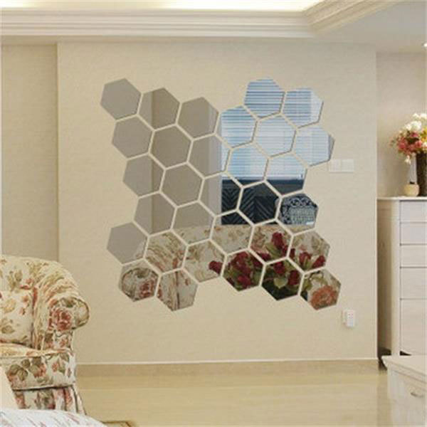 Набор из двенадцати зеркальных шестиугольников. Купить на Aliexpress
